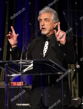Joe Mantegna speaks on stage during the The American Icon Awards Gala on May 19, 2019, at Beverly Wilshire Hotel