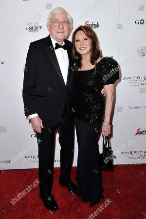 Stock Photo of Phil Donahue, Marlo Thomas. Phil Donahue, left, and Marlo Thomas attend the 2019 American Icon Awards at the Beverly Wilshire Hotel, in Beverly Hills, Calif