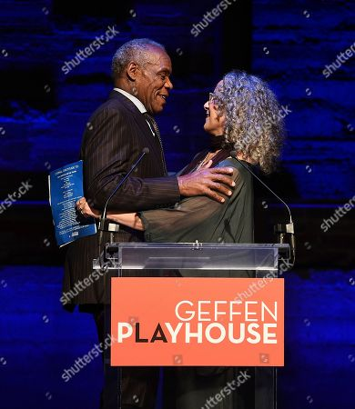 Danny Glover, Gina Belafonte. Danny Glover and Gina Belafonte attend the Backstage at the Geffen 2019 gala at the Geffen Playhouse on in Westwood, Calif