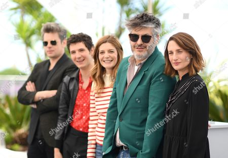 Benjamin Biolay, Vincent Lacoste, Chiara Mastroianni, Christophe Honore, Camille Cottin. Actors Benjamin Biolay, from left, Vincent Lacoste, Chiara Mastroianni, director Christophe Honore, and actor Camille Cottin pose for photographers at the photo call for the film 'Room 212' at the 72nd international film festival, Cannes, southern France