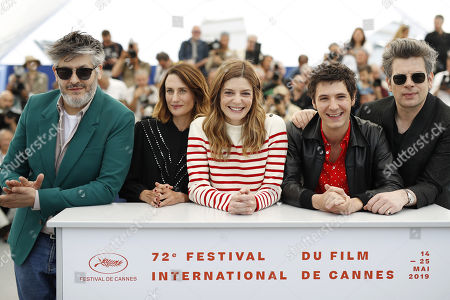 Christophe Honore, French actress Camille Cottin, French actress Chiara Mastroianni, French actor Vincent Lacoste and French singer Benjamin Biolay pose during the photocall for 'Chambre 212' (On a magical night) at the 72nd annual Cannes Film Festival, in Cannes, France, 20 May 2019. The movie is presented in the section Un Certain Regard of the festival which runs from 14 to 25 May.