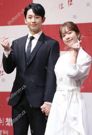 Jung Hae-in (L) and Han Ji-min, who star in MBC TV's new drama 'One Spring Night,' pose for a photo during a showcase at a Seoul, South Korea, 20 May 2019. The first episode of the drama, which is about the love between a librarian and a single dad, will air on May 22.