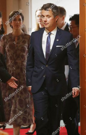 Crown Prince Frederik of Denmark (front) and his wife Crown Princess Mary (back) arrive for meeting with South Korean Prime Minister Lee Nak-yeon (not pictured) at the government office in Seoul, South Korea, 20 May 2019. Crown Prince Frederik and his wife Crown Princess Mary arrived in South Korea on a three-day visit to celebrate 60 years of diplomatic relations between the two countries.
