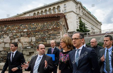 Bulgarian Foreign Minister Ekaterina Zaharieva (C) and German Foreign Minister Heiko Maas (R) during their walk in the center of Sofia, Bulgaria, 20 May 2019. German Foreign Minister Heiko Maas arrived on a two days official visit in Bulgaria.