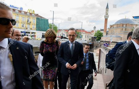 Bulgarian Foreign Minister Ekaterina Zaharieva (C-L) and German Foreign Minister Heiko Maas (C-R) during their walk in the center of Sofia, Bulgaria on 20 May 2019. German Foreign Minister Heiko Maas arrived on a two days official visit in Bulgaria.