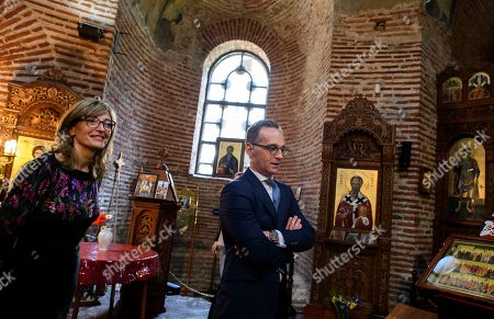 Bulgarian Foreign Minister Ekaterina Zaharieva (L) and German Foreign Minister Heiko Maas during the visit in the 4th century Church of St. George in Sofia, Bulgaria, 20 May 2019.German Foreign Minister Heiko Maas arrived on a two days official visit in Bulgaria.