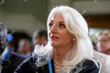 Cynthia Germanotta, mother of the US singer-songwriter and actress Lady Gaga, listens to a statement, during the first day of the 72nd World Health Assembly at the European headquarters of the United Nations in Geneva, Switzerland, 20 May 2019.