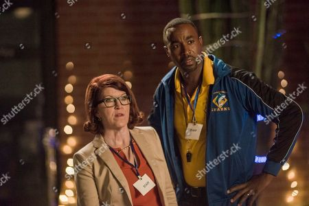 Stock Image of Kate Flannery as Principal Saperstein and Dawan Owens as Coach Lewis
