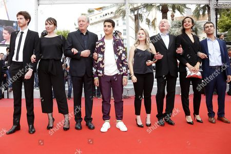Olivier Bonnaud, Belgian actress Claire Bodson, Belgian director Luc Dardenne, Belgian actor Idir Ben Addi, Belgian actress Victoria Bluck, Belgian director Jean-Pierre Dardenne, Belgian actress Myriem Akheddiou and Belgian actor Othmane Moumen arrive for the screening of 'Le Jeune Ahmed' (Young Ahmed) during the 72nd annual Cannes Film Festival, in Cannes, France, 20 May 2019. The movie is presented in the Official Competition of the festival which runs from 14 to 25 May.