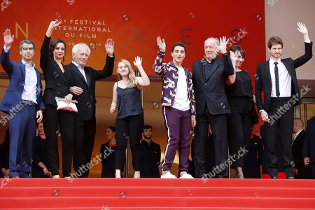 Belgian actor Othmane Moumen, Belgian actress Myriem Akheddiou, Belgian director Jean-Pierre Dardenne, Belgian actress Victoria Bluck, Belgian actor Idir Ben Addi, Belgian director Luc Dardenne, Belgian actress Claire Bodson and French actor Olivier Bonnaud arrive for the screening of 'Le Jeune Ahmed' (Young Ahmed) during the 72nd annual Cannes Film Festival, in Cannes, France, 20 May 2019. The movie is presented in the Official Competition of the festival which runs from 14 to 25 May.
