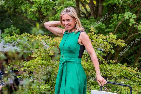 Sophie Raworth on the Welcome to Yorkshire Garde Designed by, Mark Gregory, Built by Landform Consultants Ltd - Press preview day at The RHS Chelsea Flower Show.