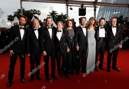 Denis Pineau-Valencienne, Denis Podalydes, Guillaume Canet, Daniel Auteuil, Fanny Ardant, Director Nicolas Bedos, Doria Tillier, Micheal Cohen and Francois Kraus arrive for the screening of 'La Belle Epoque' during the 72nd annual Cannes Film Festival, in Cannes, France, 20 May 2019. The movie is presented out of competition at the festival which runs from 14 to 25 May.