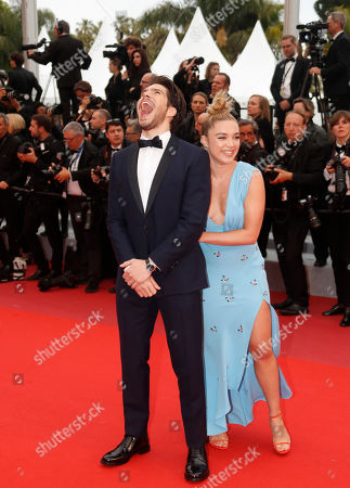 Francois Civil (L) and Florence Pugh arrive for the screening of 'La Belle Epoque' during the 72nd annual Cannes Film Festival, in Cannes, France, 20 May 2019. The movie is presented out of competition at the festival which runs from 14 to 25 May.