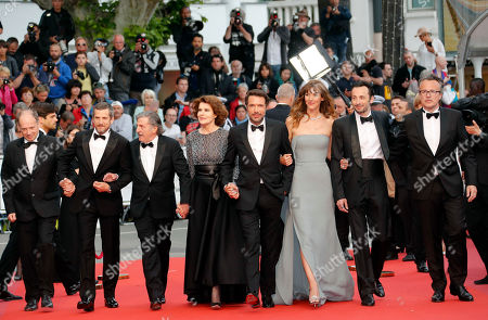 Denis Podalydes, Denis Pineau-Valencienne, Daniel Auteuil, Fanny Ardant, Director Nicolas Bedos, Doria Tillier, Micheal Cohen and Francois Kraus arrive for the screening of 'La Belle Epoque' during the 72nd annual Cannes Film Festival, in Cannes, France, 20 May 2019. The movie is presented out of competition at the festival which runs from 14 to 25 May.