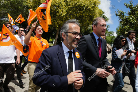 Portugues Democratic Social Party (PSD) head of list to the European elections Paulo Rangel (C) accompanied by the former Prime Minister Pedro Passos Coelho (R) during a lunch-rally as part of the campaign for the European elections 2019, in Cascais, Portugal, 20 May 2019.