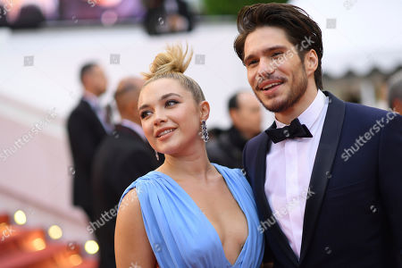 Florence Pugh, Francois Civil. Actors Florence Pugh, left, and Francois Civil pose for photographers upon arrival at the premiere of the film 'La Belle Epoque' at the 72nd international film festival, Cannes, southern France