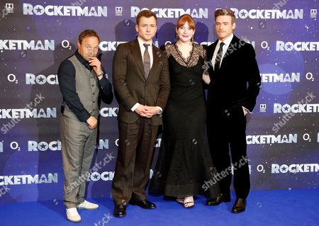 Actors Stephen Graham, Taron Egerton, Bryce Dallas Howard and Richard Madden, from left to right, pose at the UK Film Premiere of Rocketman at the Odeon Luxe in London