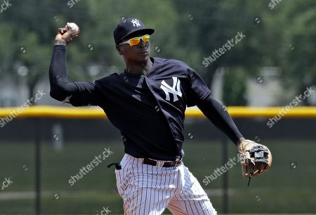 New York Yankees' Didi Gregorius throws the ball to first base in time to get a runner during a Gulf Coast League baseball game, in Tampa, Fla. Gregorius is playing for the first time since having Tommy John surgery