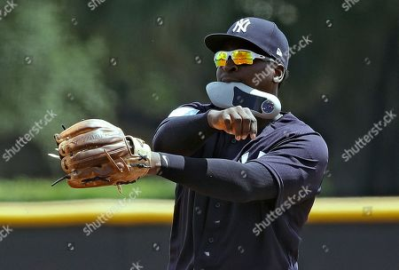 New York Yankees' Didi Gregorius carries the insert of his shoe in his mouth as he warms up before during a Gulf Coast League baseball game, in Tampa, Fla. Gregorius is playing for the first time since having Tommy John surgery