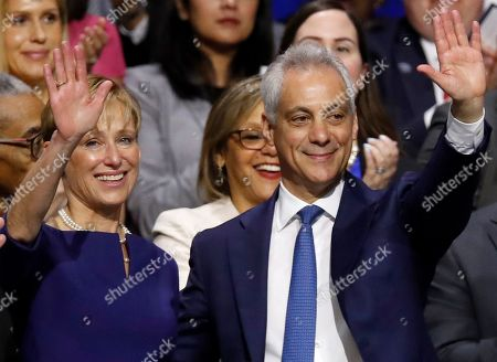 Amy Rule, Rahm Emanuel. Outgoing Mayor of Chicago Rahm Emanuel and his wife Amy Rule during an inauguration ceremony, in Chicago