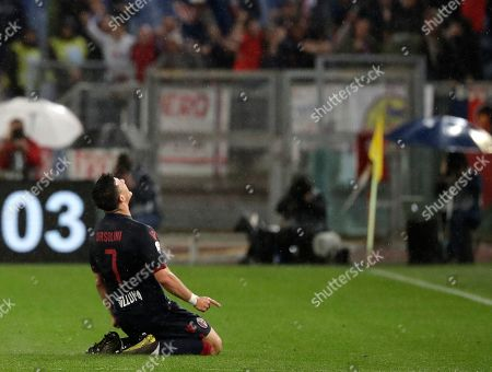 Bologna's Riccardo Orsolini, left, celebrates with Bologna's Giancarlo Gonzalez after scoring his side's third goal during an Italian Serie A soccer match between Lazio and Bologna, at the Olympic stadium in Rome