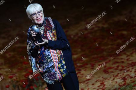 Stock Photo of Concha Velasco poses after receiving the Max Honorary Award 2019 of Scenic Arts during a gala held at the Calderon theater in Valladolid, Spain, 20 May 2019.