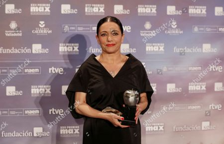 Eva Yerbabuena poses after receiving the Max Best Female Dancer Award 2019 of Scenic Arts during a gala held at the Calderon theater in Valladolid, Spain, 20 May 2019.