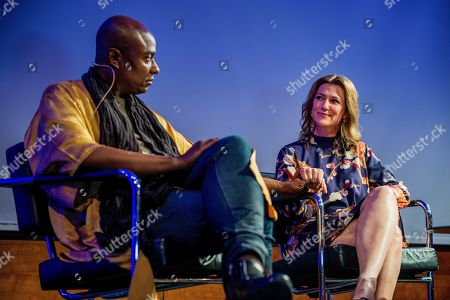 Norwegian princess Martha Louise (R) and shaman Durek Verrett (L) on stage during their session at Clarion hotel in Stavanger, Norway, 20 May 2019.