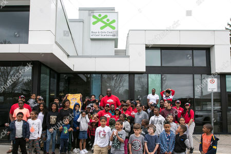Stock Image of JOHN'S- Papa John's newest Board Member and investor, NBA legend Shaquille O'Neal, visits the Boys & Girls Club of East Scarborough to celebrate Papa John's Annual Day of Service on in Toronto, Ontario, Canada