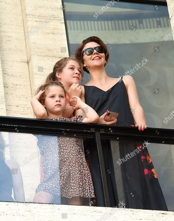 Stock Picture of Gloria Ray Sarsgaard, Ramona Sarsgaard, Maggie Gyllenhaal. Actress Maggie Gyllenhaal, right, and her daughter Gloria Ray Sarsgaard, left, and Ramona Sarsgaard attend the American Ballet Theatre's annual spring gala at the Metropolitan Opera House, in New York