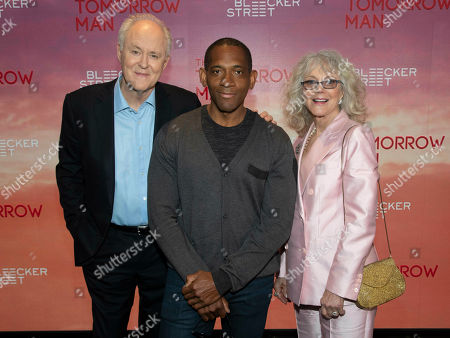 """John Lithgow, Noble Jones, Blythe Danner. John Lithgow, from left, Noble Jones and Blythe Danner attend a special screening of """"The Tomorrow Man"""" at the Robin Williams Center, in New York"""