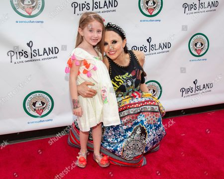 """Stock Photo of Stacey Bendet Eisner, Athena Belle Eisner. Stacey Bendet Eisner, right, and Athena Belle Eisner attend the opening night of """"Pip's Island"""" at 400 West 42nd Street, in New York"""