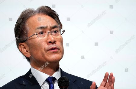 Kenichiro Yoshida, President and Chief Executive Officer (CEO) of Sony Corp., answers to questions from journalists during a news conference at the company headquarters in Tokyo, Japan, 21 May 2019. Sony Corporation held its Corporate Strategy Meeting for the fiscal year ending 31 March 2020 (FY2019).