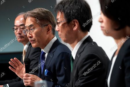 Kenichiro Yoshida (2-L), President and Chief Executive Officer (CEO) of Sony Corp., answers to questions from journalists during a news conference at the company headquarters in Tokyo, Japan, 21 May 2019. Sony Corporation held its Corporate Strategy Meeting for the fiscal year ending 31 March 2020 (FY2019).