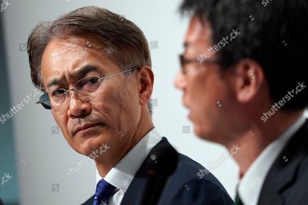 Kenichiro Yoshida (L), President and Chief Executive Officer (CEO) of Sony Corp., attends a news conference at the company headquarters in Tokyo, Japan, 21 May 2019. Sony Corporation held its Corporate Strategy Meeting for the fiscal year ending 31 March 2020 (FY2019).