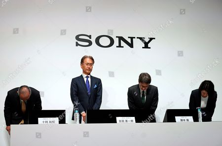 Kenichiro Yoshida (2-L), President and Chief Executive Officer (CEO) of Sony Corp., attends a news conference at the company headquarters in Tokyo, Japan, 21 May 2019. Sony Corporation held its Corporate Strategy Meeting for the fiscal year ending 31 March 2020 (FY2019).