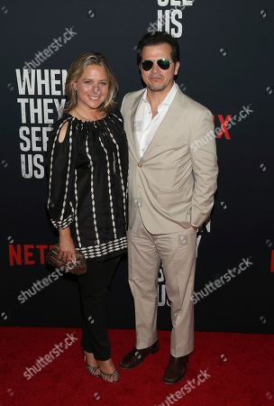 """Justine Maurer, John Leguzamo. Actor John Leguzamo and wife Justine Maurer attend the world premiere of """"When They See Us"""" at the Apollo Theater, in New York"""