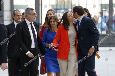 Leader of Spanish Ciudadanos party, Albert rivera (R), greets MP Ines Arrimadas (2-R) as they arrive to the Lower House in Madrid, Spain, 21 May 2019, to attend the constitutive session of Parliament. The Senate and the Lower House will be choosing the new Parliament Speakers following the General Election that took place on 28 April 2019.