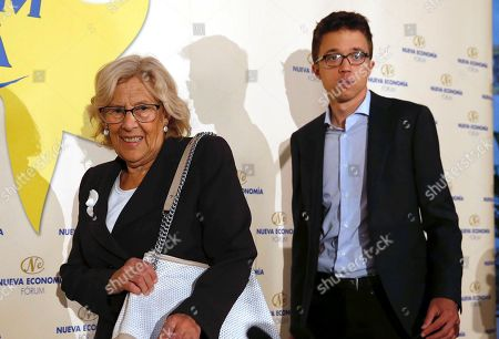 Acting Mayoress of Madrid and Mas Madrid candidate for re-election, Manuela Carmena (L), and Mas Madrid candidate for Madrid's regional Presidency, Inigo Errejon (R), arrive to attend a breakfast briefing in Madrid, Spain, 21 May 2019. Spain is holding local, regional and European elections next 26 May 2019.