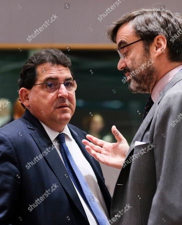 Spanish State Secretary for the European Union Luis Marco Aguiriano Nalda (L) chats with Spanish permanent representatives at EU Pablo Garcia Berdoy during a European general affairs council in Brussels, Belgium, 21 May 2019.