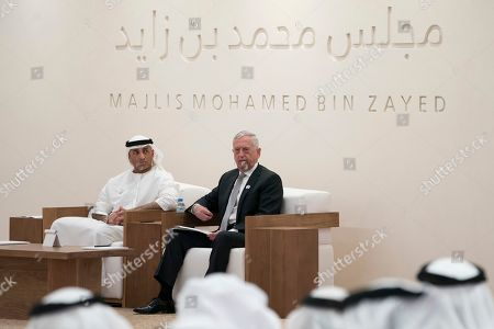 """Jim Mattis, former US Secretary of Defense, right, prepares to deliver a lecture """"The Value of the UAE - US Strategic Relationship"""", at Majlis Mohamed bin Zayed, in Abu Dhabi, United Arab Emirates. Yousef Al Otaiba, UAE Ambassador to the U.S. and Mexico sits at left. Mattis told the audience that America """"needs to engage more in the world and intervene militarily less"""