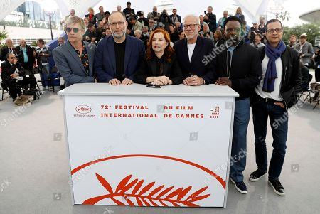 Stock Image of Jeremie Renier, US director Ira Sachs, French actress Isabelle Huppert, French actor Pascal Greggory, British actor Ariyon Bakare and Brazilian screenwriter Mauricio Zacharias pose during the photocall for 'Frankie' at the 72nd annual Cannes Film Festival, in Cannes, France, 21 May 2019. The movie is presented in the Official Competition of the festival which runs from 14 to 25 May.