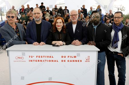 Jeremie Renier, US director Ira Sachs, French actress Isabelle Huppert, French actor Pascal Greggory, British actor Ariyon Bakare and Brazilian screenwriter Mauricio Zacharias pose during the photocall for 'Frankie' at the 72nd annual Cannes Film Festival, in Cannes, France, 21 May 2019. The movie is presented in the Official Competition of the festival which runs from 14 to 25 May.
