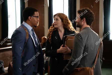Stock Image of Russell Hornsby Ezekiel 'Easy' Boudreau, Rachelle Lefevre as Madeline Scott and David Alpay as Dylan