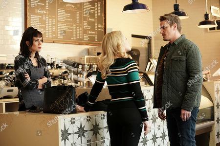 Heidi Johanningmeier as Linda Barrett, Caitlin Mehner as Heather Husband and Riley Smith as Levi Scott