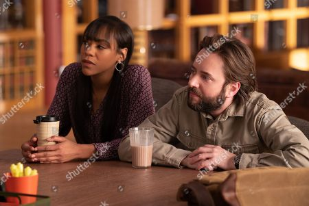 Nikki M. James as Violet Bell and Vincent Kartheiser as Bodie Quick