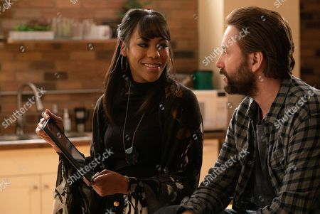 Stock Picture of Nikki M. James as Violet Bell and Vincent Kartheiser as Bodie Quick