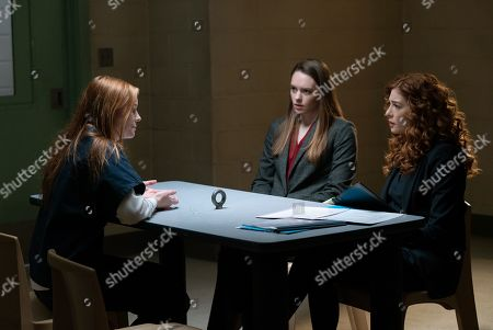 Stock Picture of Samantha Sloyan as Gabrielle Parcell, Annie Munch as Kirsten Parcell and Rachelle Lefevre as Madeline Scott