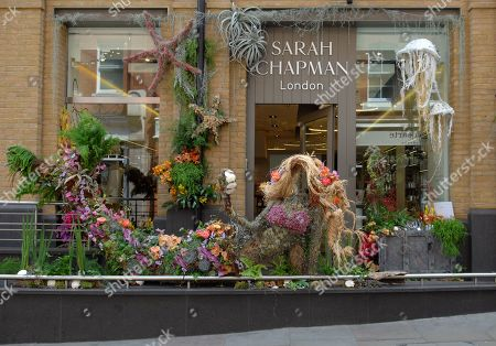 A flower installation in the form of a mermaid at the front of Sarah Chapman on Pavilion Rd