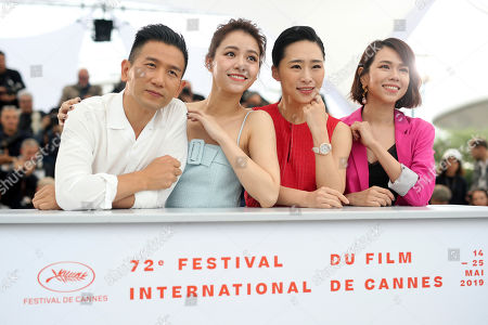 Stock Picture of Midi Z, Vivian Sung Yun-hua, Wu Ke-xi, Hsia Yu-chiao. Director Midi Z, from left, actresses Vivian Sung Yun-hua, Wu Ke-xi and Hsia Yu-chiao pose for photographers at the photo call for the film 'Nina Wu'' at the 72nd international film festival, Cannes, southern France